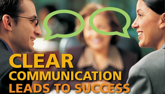 Banner image with people speaking with text overlaid saying Clear Communication Leads to Success